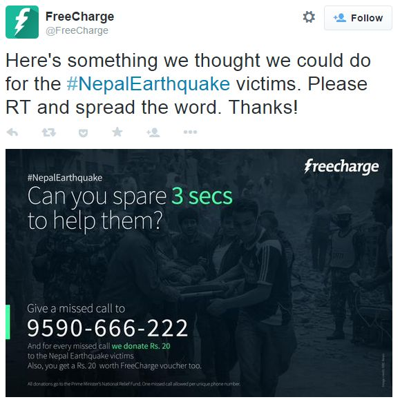 Native charity advertising – debating Freecharge's #NepalEarthquake relief effort