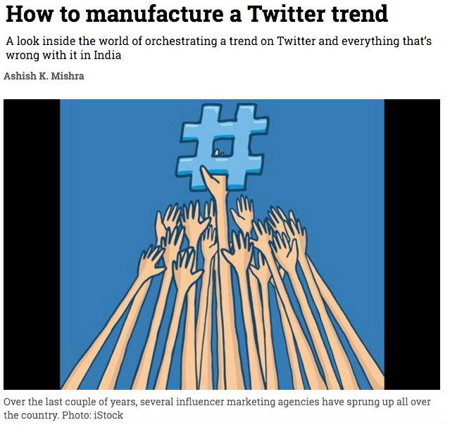 Manufacturing a blockbuster article on Mint, using Twitter trends