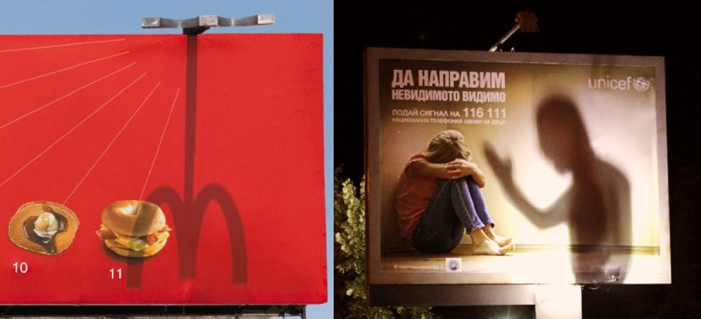 Creative use of shadows in outdoor advertising
