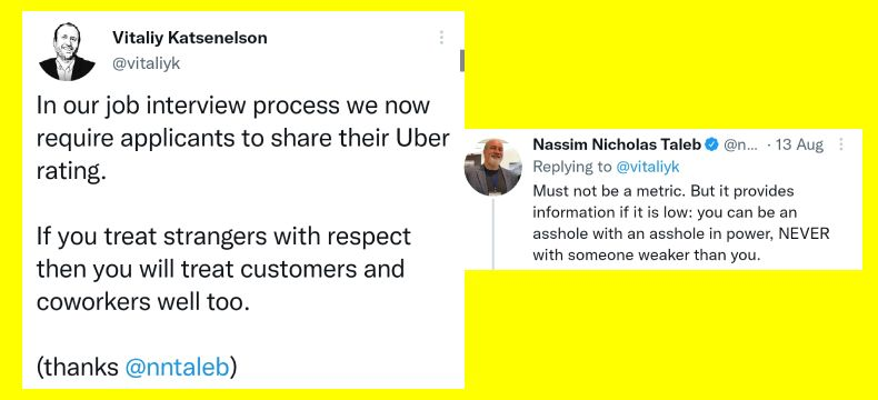 Your Uber rating to help you get shortlisted for an interview?